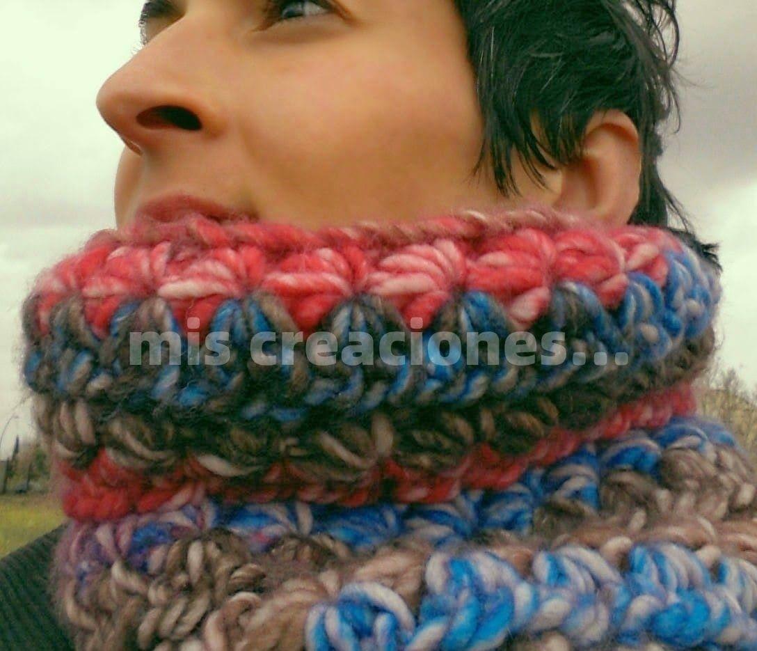 cuello de lana realizado en crochet