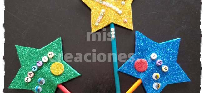 varitas magicas DIY con materiales reciclados