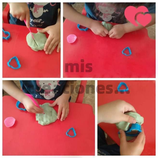 jugando con plastilina hecha en casa