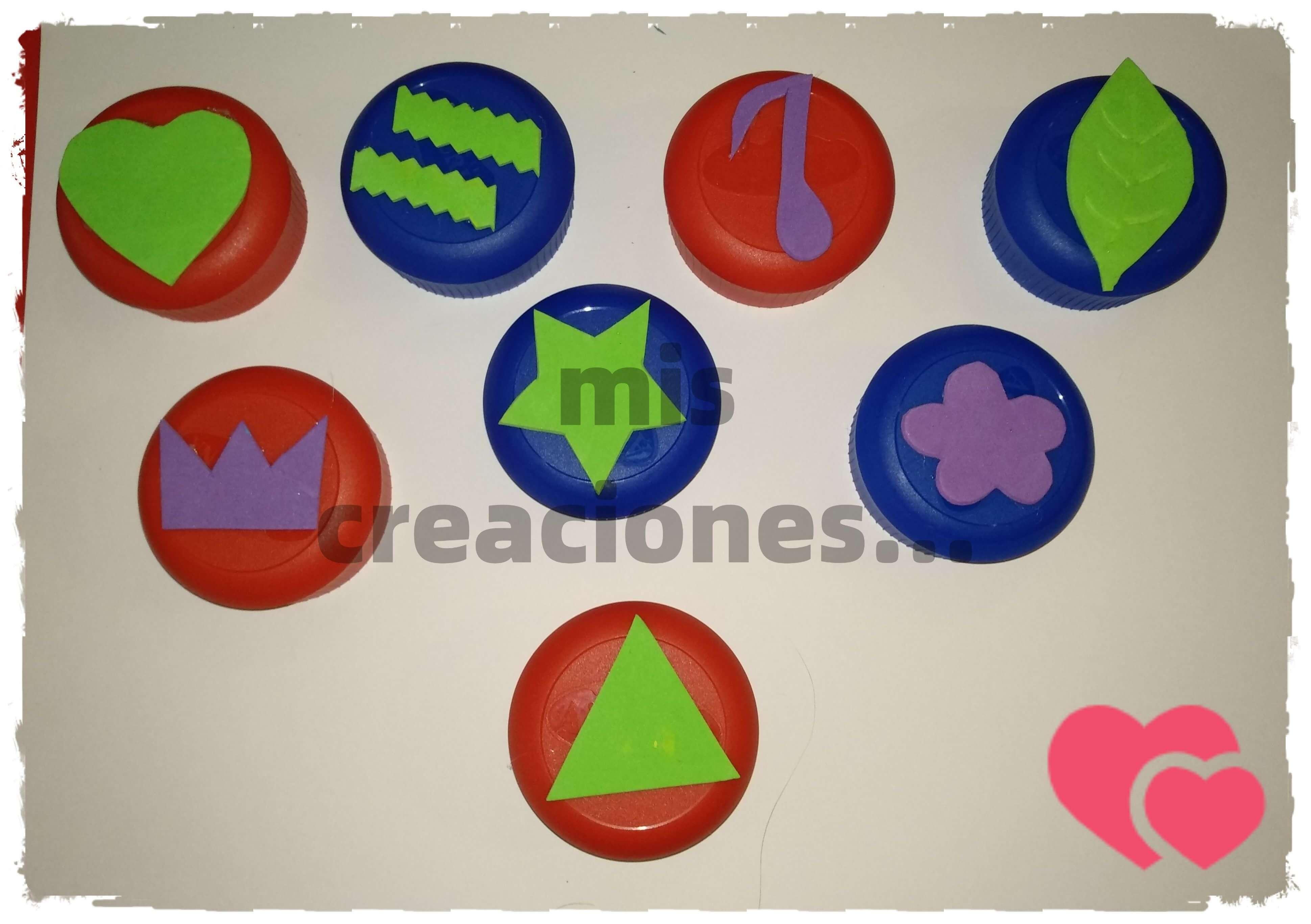reciclando tapones de plastico para hacer sellos