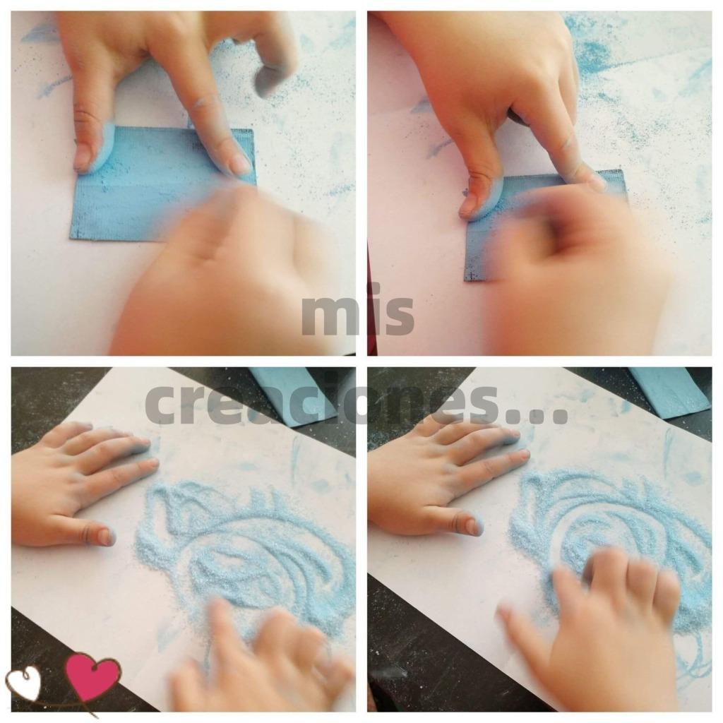hacemos polvo de tizas de colores con papel de lija finito para teñir la sal