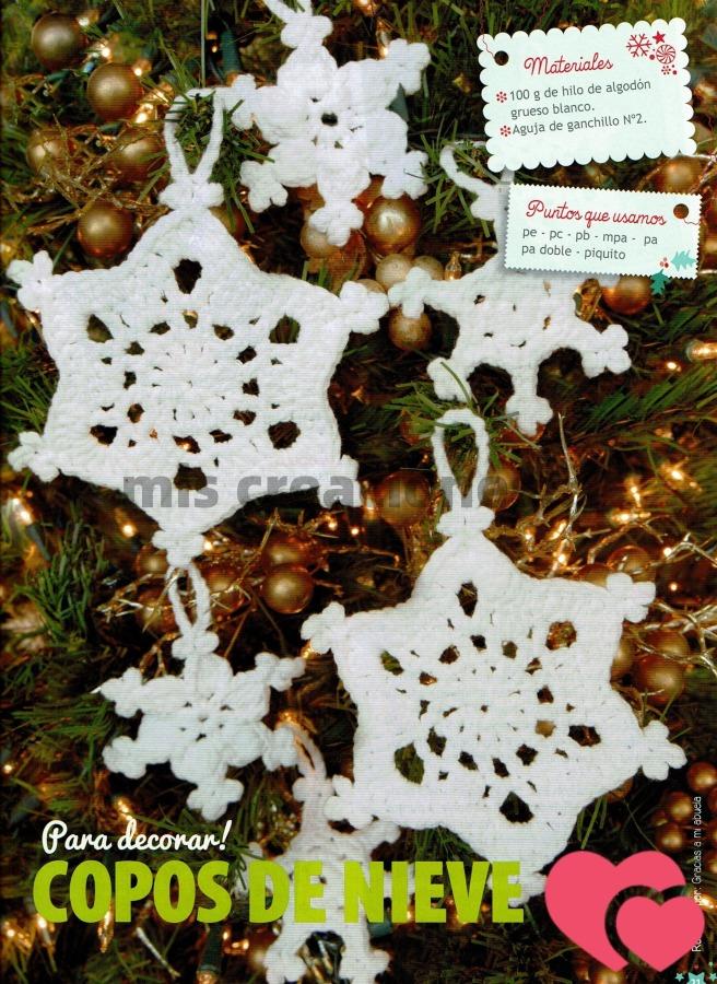 Copos de nieve en crochet para el árbol de Navidad