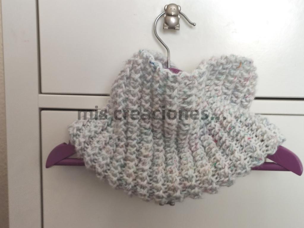 cuello-braga para niña tejido con dos agujas